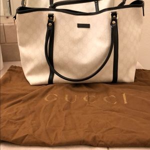 Authentic White and Black canvas Gucci Bag